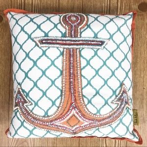 Nicole Miller Home Beaded Anchor Accent Pillow